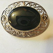 Large Sterling Onyx Filigree Brooch