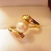 Vintage 14k Cultured Pearl Ring ~8 1/4