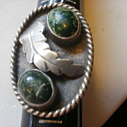 Large Vintage Mexico Sterling Green Turquoise Ring