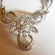 Sterling Open Backed Crystal Filigree Necklace