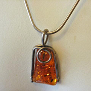 Sterling Amber Resin Pendant on Sterling Italy Snake Chain