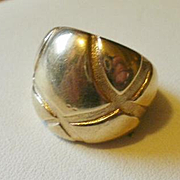 Designer Marked Sterling Vermeil Dome Ring