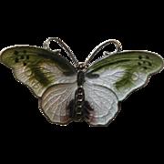 """Gold Washed Sterling Enamel Butterfly """"Slide"""" Pendant"""
