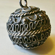 "Ethnic Silver Mellow ""Chime"" Ball Pendant"