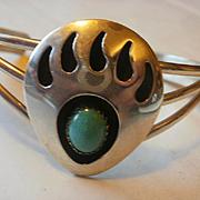 Navajo Daniel Mike Sterling Turquoise Bear Claw Bracelet
