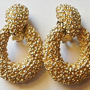 Marked Panetta Gold Toned Door Knocker Earrings