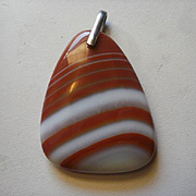 Large Sterling Banded Agate Pendant