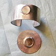 Modernist Sheffield England Modernist Cuff and Pin Set
