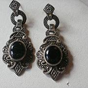 Long Art Deco Style Sterling Onyx Earrings