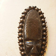 "Vintage Prieto Mexico 3"" Grey Onyx Sterling Mask Brooch"