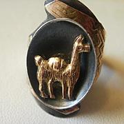 Vintage Sterling 18K Adjustable Llama Ring