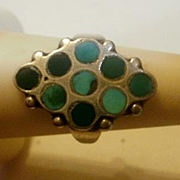 Vintage South Western Natural Turquoise Inlay Sterling Ring~ 6