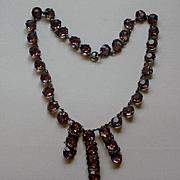 Fabulous Sterling 9mm Open Backed Amethyst Crystal Fringe Necklace