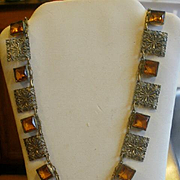 Art Deco Era Open Backed Glass and Brass Necklace