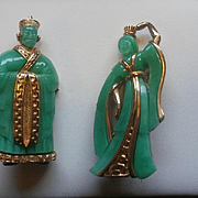Lucite Chinese Emperor and Queen Brooch Set
