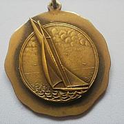 Vintage Bronze Sail Boat Fob/Pendant