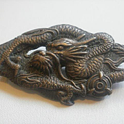 "Victorian Era Artist Marked Chinese Silver ""Puffy"" Dragon Brooch"