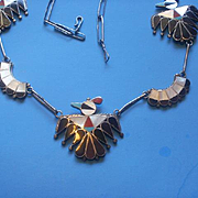 Fabulous Artist Signed Zuni Thunderbird Sterling Inlay Necklace