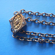 Victorian Era Ladies Seed Pearl Gold Filled Slide Watch Chain