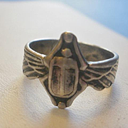 SOLD Art Nouveau Era Sterling Winged Scarab Ring ~8