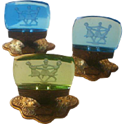 SOLD Set of Three Czech Intaglio Glass & Brass Place Card Holders