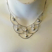 Vintage Mexico Sterling Festoon Necklace