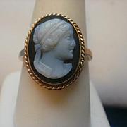 Victorian Era 14K Hard Stone Cameo Ring ~ 8 1/2