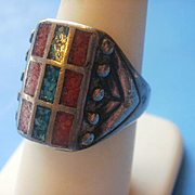 Old Hand Made  Turquoise Coral Sterling Ring ~8