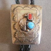Hand Tooled Sterling Turquoise Coral Bolo