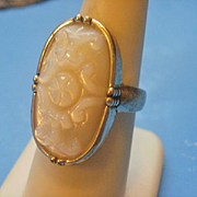 SALE PENDING Chinese Carved MOP Sterling Ring