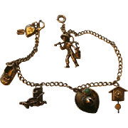 SOLD Vintage Sterling Charm Bracelet 6 Sterling Charms