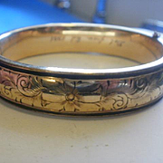 Vintage Floral Etched Gold Filled Bangle with Enamel Highlights