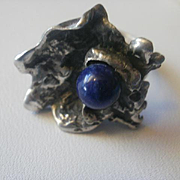 """Artist Marked Sterling Lapis Brutalist """"Lily Pad"""" Ring Size 5 1/2"""
