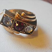 Retro Era 14k Gold Filled Synthetic Ruby Mens Ring 9