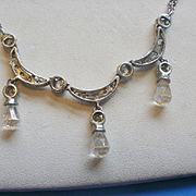 Sterling Italy Crystal Drop Necklace