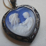 Sterling Molded Cameo Glass Mother and Child Pendant