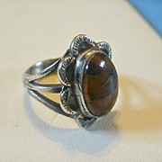 Vintage Navajo Sterling Petrified Wood Ring