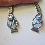 Vintage Zuni Sterling Inlay Sunface  Watch Tips