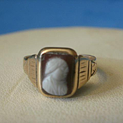 Victorian Era 10k Hard Stone Cameo Ring~4
