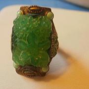SALE PENDING Asian Inspired Molded Czech Glass & Brass Enamel Adjustable Ring