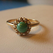 SALE PENDING 14k Victorian Era Persian Turquoise Seed Pearl Ring