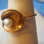 14K Fresh Water Pear Calla Lily Ring
