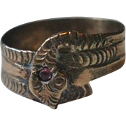 Victorian Era 10k Garnet Snake Ring