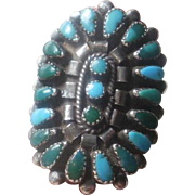 SALE PENDING Large Vintage Sterling Turquoise Petite Point Ring ~7 1/2