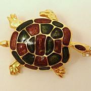 Figural Enamel Sea Turtle Pin ~ Brooch