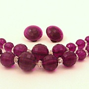 Rich Deep Purple Demi Parure of Faceted Lucite Beads and Crystal Spacers