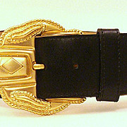 SALE Vintage Early 80's Anne Klein for Orton WIDE Belt & CHUNKY Buckle