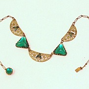 SALE Incredible Art Deco Egyptian Revival Brass, Enamel & Glass Necklace