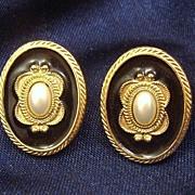 Gorgeous Enamel & Faux Pearl Cabochon 1928 Jewelry Co. Earrings