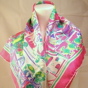 Bright Pink, Greens & Purple 100% Italian Silk Hand Rolled Scarf by Salterio
